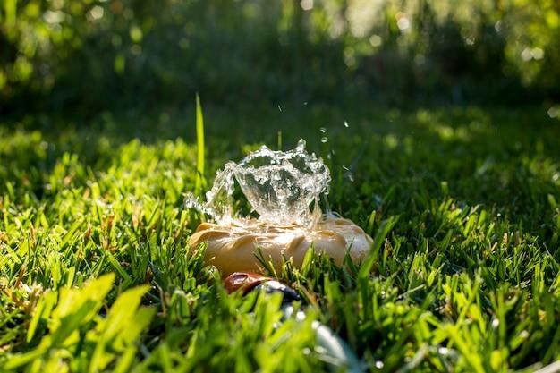 분수가 있는 녹색 잔디밭에 있는 범용 정원 스프링클러