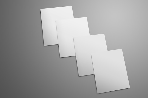 Универсальный макет с четырьмя белыми брошюрами формата a4 a5, выделенными на сером фоне