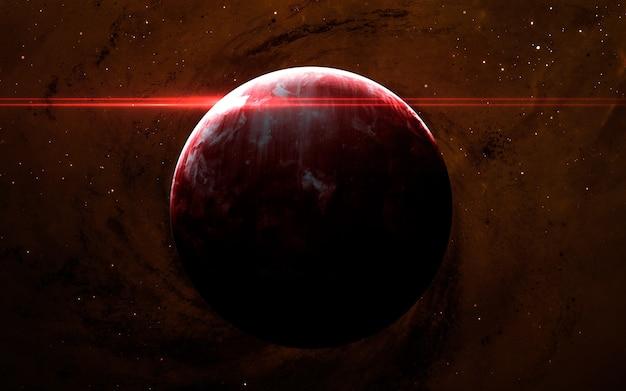 Сцена вселенной с планетами, звездами и галактиками в космическом пространстве, демонстрирующая красоту освоения космоса.