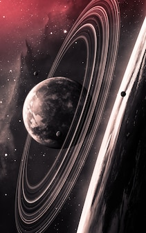 Universe scene with planets