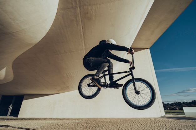 Unknown bmxer making a bunny hop