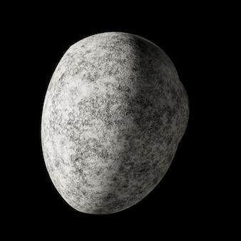 Неизвестная маленькая планета без атмосферы в космосе на черном фоне. 3d иллюстрация
