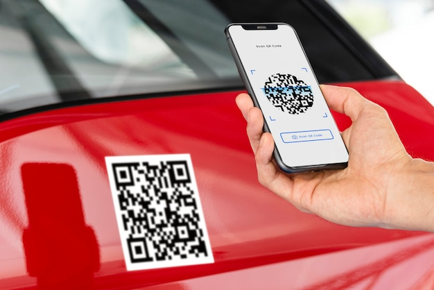 Unlocking car by qr code and smartphone