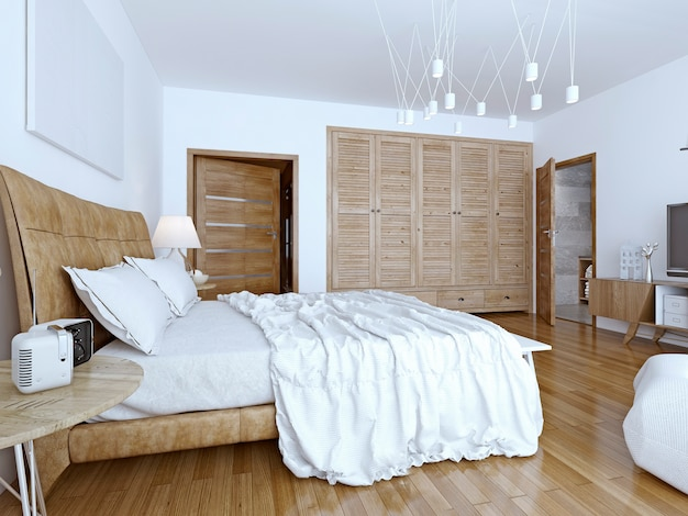 Unmade bed in minimalist bedroom.
