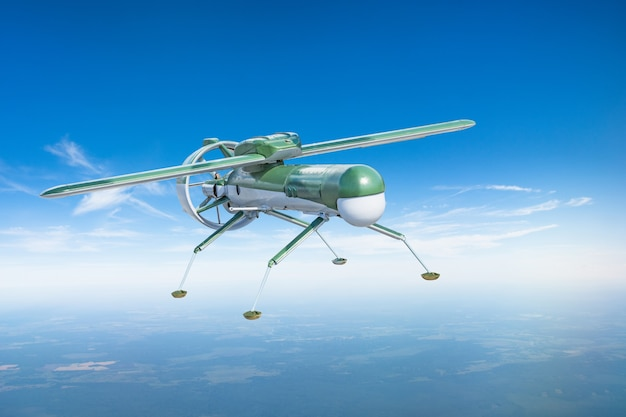 Unmanned military drone aircraft with landing legs on patrol air territory at altitude.