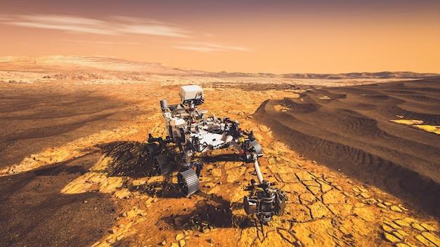 火星探査ミッションの無人ローバービークルが惑星の地面を走り抜けます。