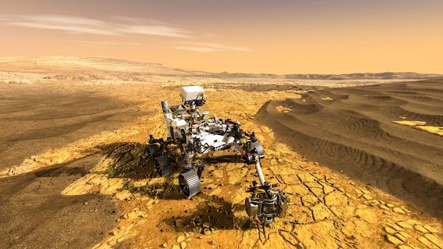 화성 탐사 임무를 수행하는 무인 탐사 차량이 행성의 지상을 통과합니다.