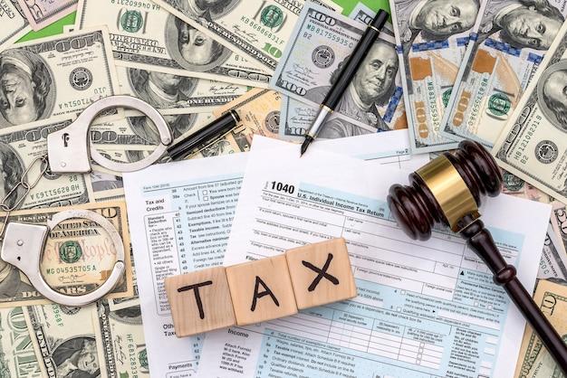 달러 표면에 미지급 세금 및 처벌 개념