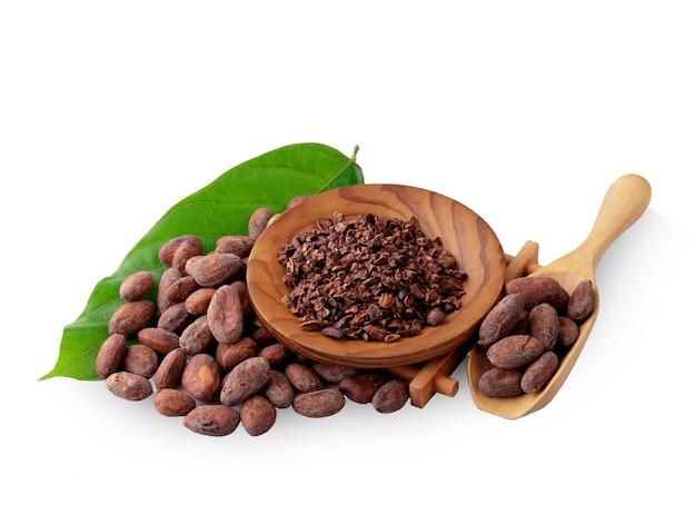 Unpeeled cocoa bean isolated