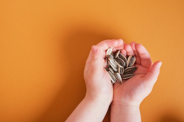 Unpeeled sunflower seeds in children's palms on brown background