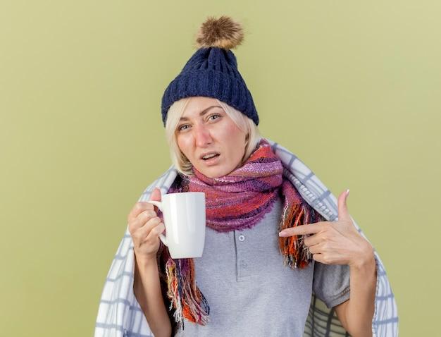 La giovane donna slava malata bionda dispiaciuta indossa il cappello e la sciarpa di inverno avvolti in prese del plaid e punti alla tazza isolata sulla parete verde oliva con lo spazio della copia