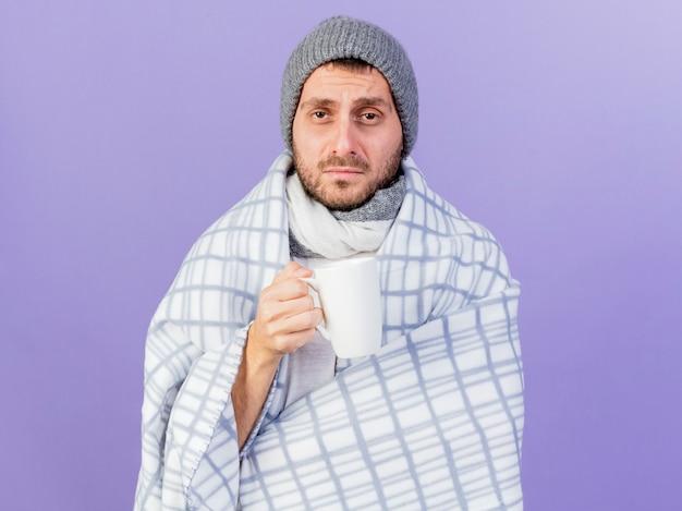 格子縞に包まれたスカーフと冬の帽子をかぶって、紫色の背景で隔離のカップuf茶を保持している不機嫌な若い病気の男
