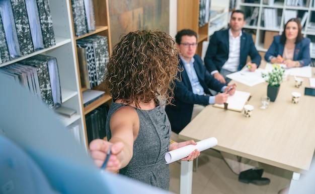 本社のテーブルでビジネスチームにプロジェクト管理研究を説明する認識できない女性コーチ。ガラスの壁を通して見る。