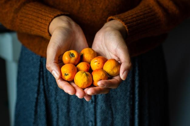 いくつかのテホコテスの果実を保持している認識できない女性