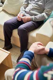 Unrecognizable senior man in therapy