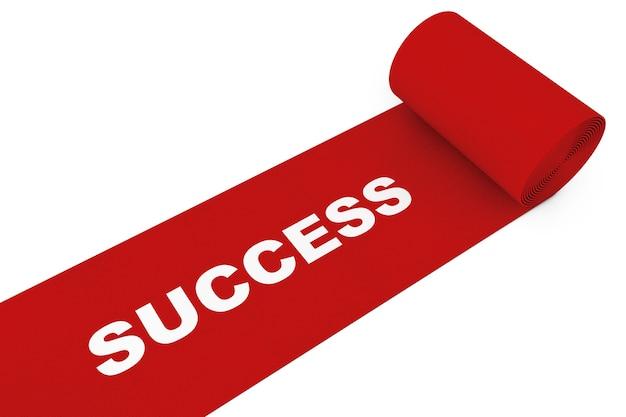 白い背景に成功のサインと展開されたレッドカーペット。 3dレンダリング。
