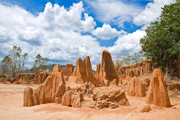 Unseen thailand,sculpture beautiful natural wonders of the collapse of the sandy ground in lalu park at ta phraya, sa kaeo, thailand