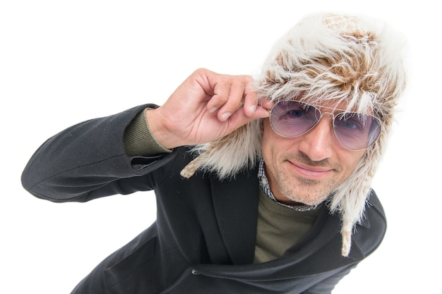 Unshaven male with bristle wearing warm winter clothes isolated on white, winter fashion.