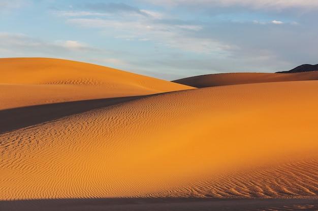 외딴 사막의 때묻지 않은 모래 언덕