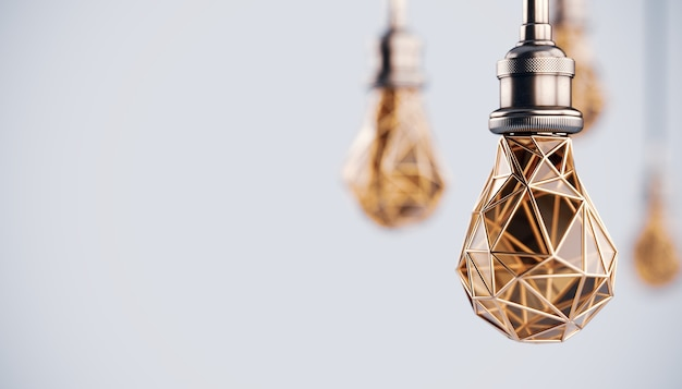 Unusual 3d illustration of hanging stylized low poly light bulbs with golden wire.