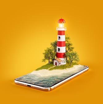 Необычная 3d иллюстрация маяка на экране смартфона