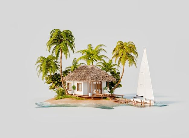 Необычная иллюстрация 3d тропического острова. роскошное экзотическое белое бунгало и яхта.