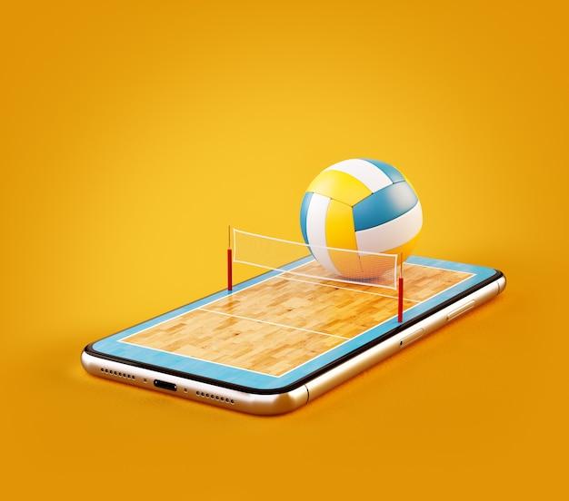 Необычная 3d иллюстрация волейбольного мяча и на площадке на экране смартфона