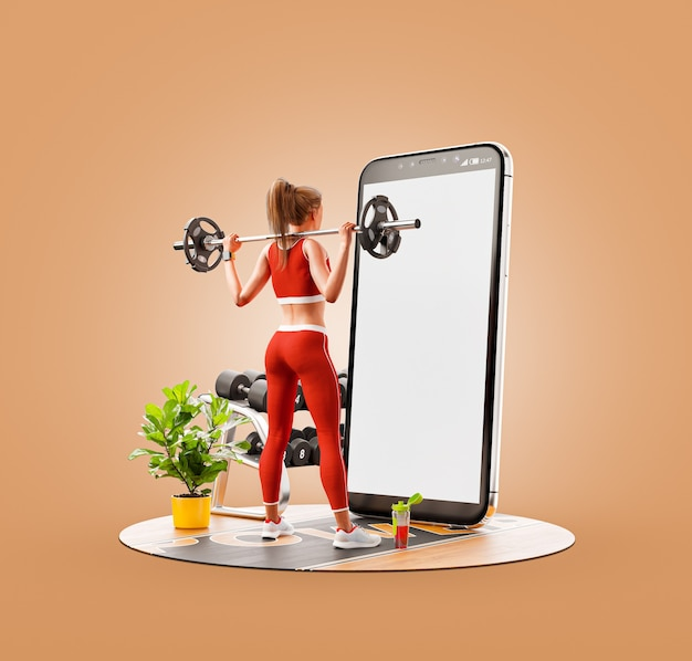 スマートフォンの前でバーベルを使ってスクワットをし、スマートフォンを使ってエクササイズをしているジムの若い女性の珍しい3dイラスト。