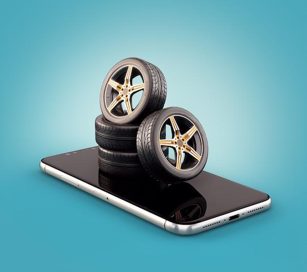 スマートフォン画面上の車のタイヤの珍しい3dイラスト