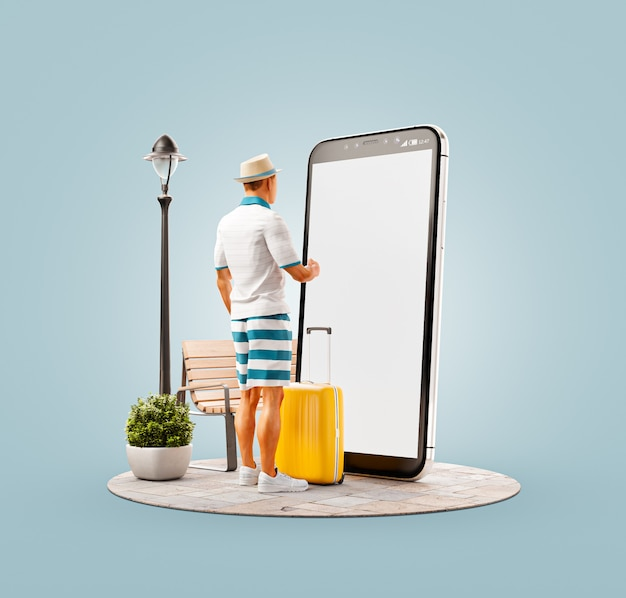 Unusual 3d illustration of a tourist with in straw hat with his luggage standing in front of smartphone and using smart phone application.