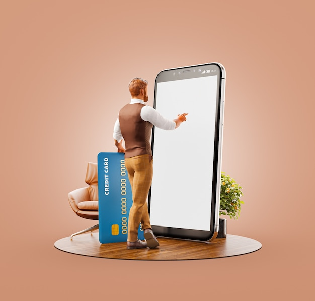 Unusual 3d illustration of a young man with credit card standing at big smartphone in office and using smart phone