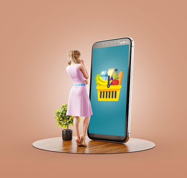 Unusual 3d illustration of a young woman standing at big smartphone and making online grocery orders. food delivery apps concept. online grocery shopping.