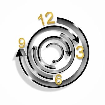Необычные абстрактные часы с радиальными стрелками