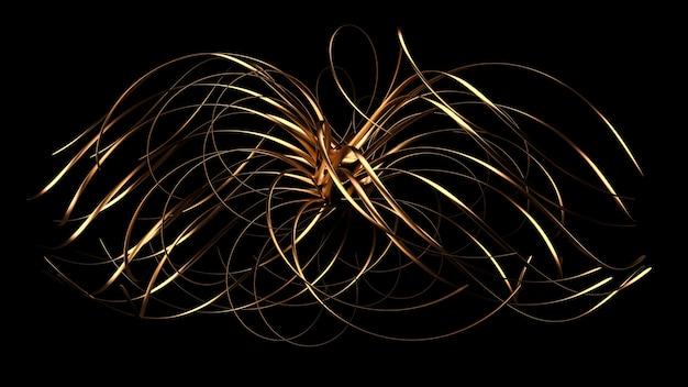 Unusual, beautiful golden form 3d illustration rendering