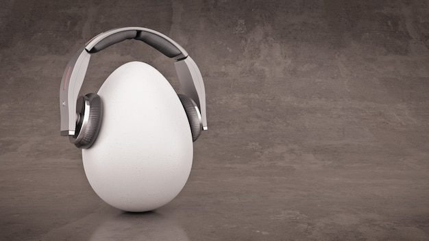 Необычное мультяшное яйцо в наушниках 3d-рендеринга