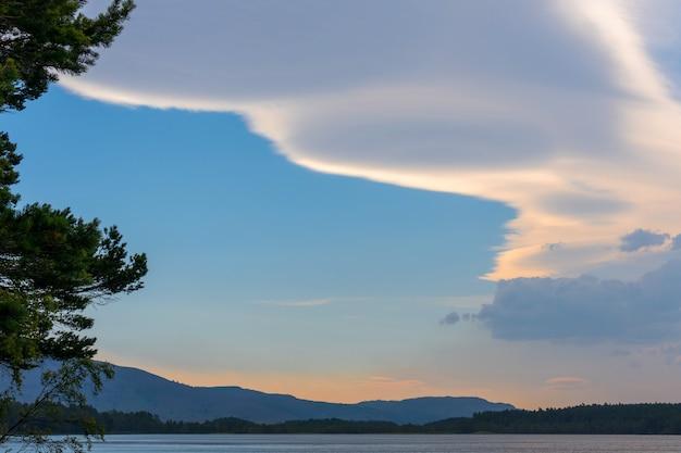 Unusual cloud formation over loch garten