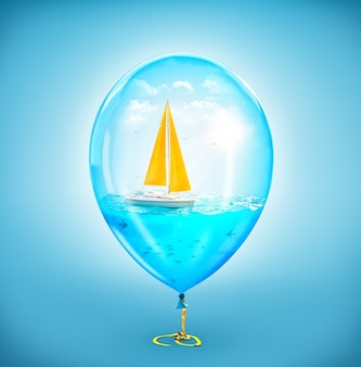 Необычная иллюстрация удивительной яхты в океане внутри надувного воздушного шара