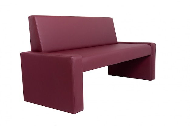 Unusual modern red leather bench isolated on white.