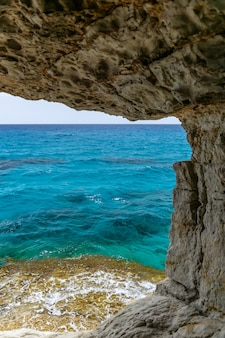 The unusual picturesque cave is located on the mediterranean coast. cyprus, ayia napa.