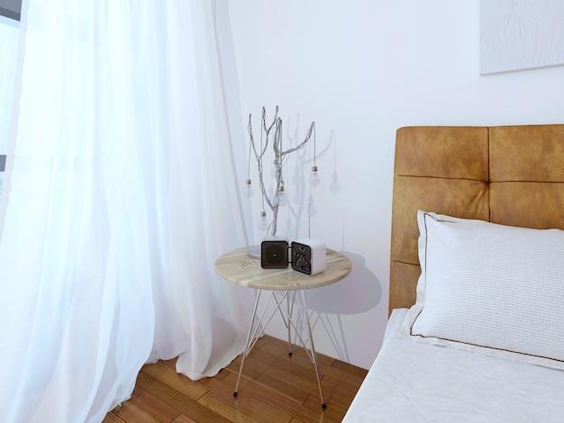 Unusual table lamp on modern bedroom.