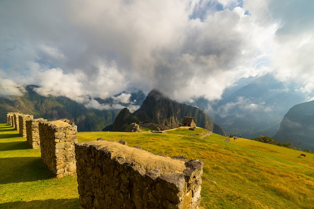 Unusual view of machu picchu from above by morning light