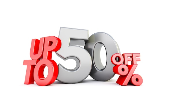 Up to 50% fifty off word isolated. special offer 50% discount