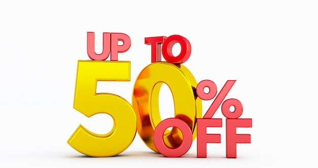 Up to 50% fifty off word isolated