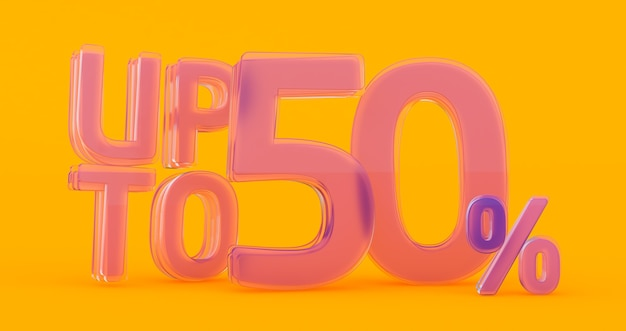 Up to 50% off special offer, sale up to 50 percent off, 3d render