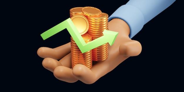 Стрелка вверх и стопки монет. финансовый успех и концепция роста. 3d визуализация иллюстрации