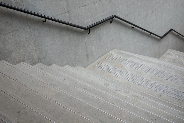 Up and down stairs with handrails for balancing