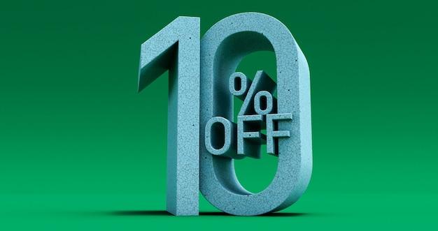 特別オファーが最大10%オフ、緑色の背景で最大10%オフ、3dレンダリング