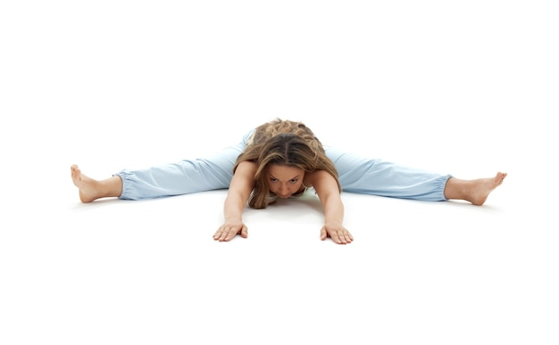 Upavistha konasana wide-angle seated forward bend pose