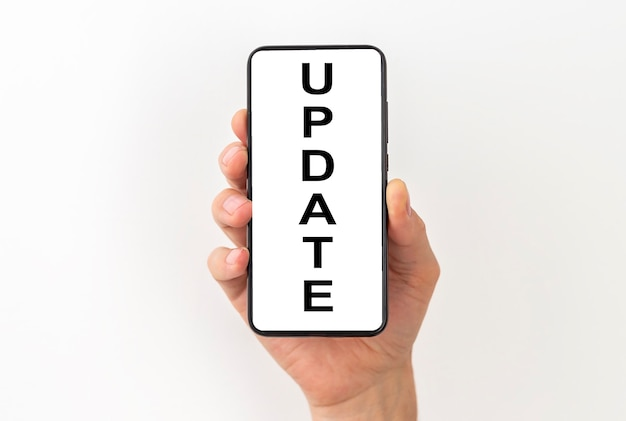 Update word, inscription on screen of mobile phone.