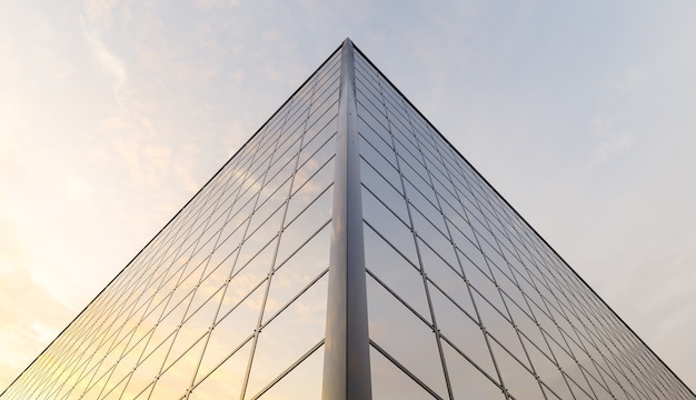 Upper corner of a building full of windows reflecting the sunset. 3d render